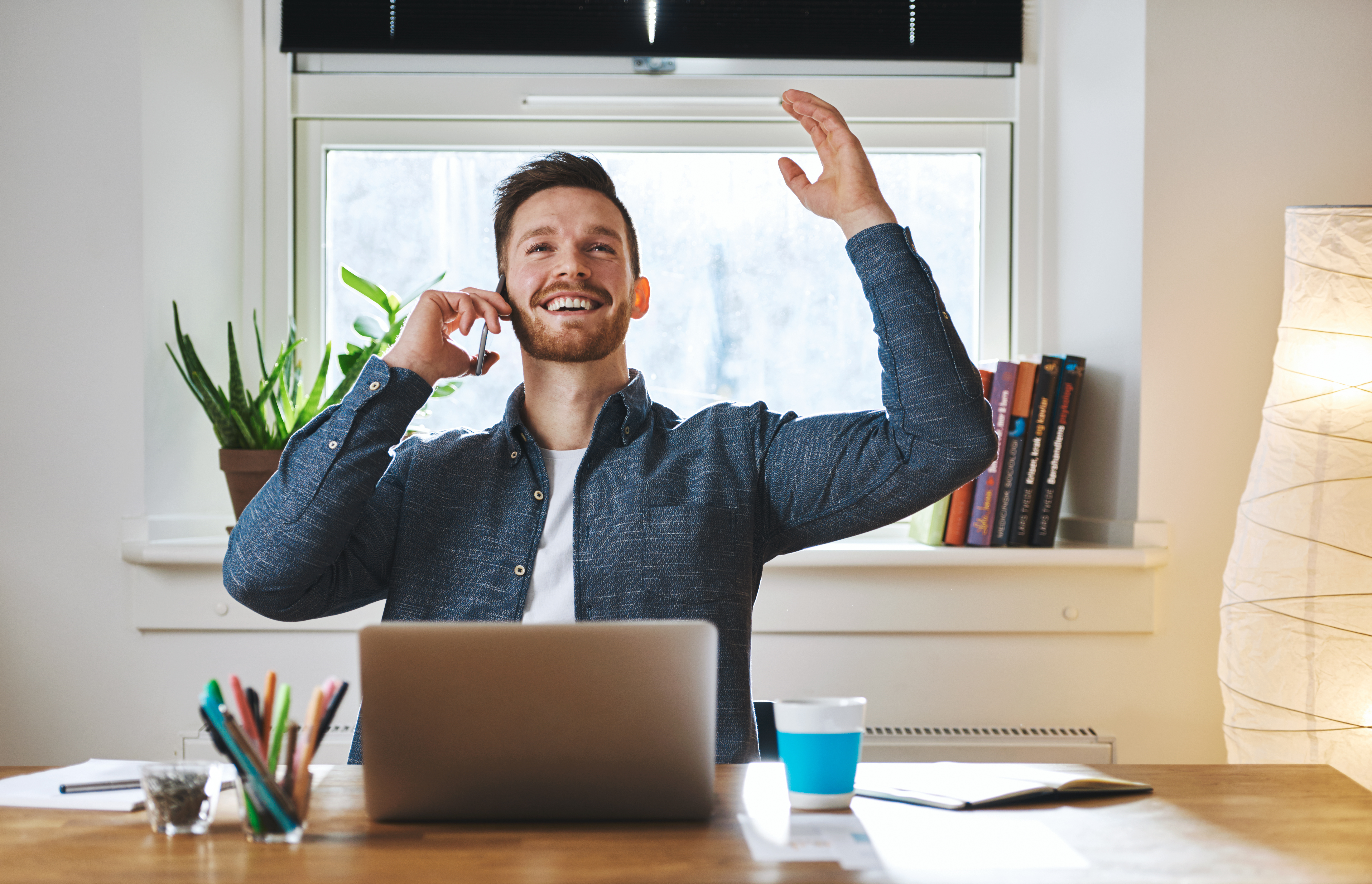 Successful entrepreneur looking happy
