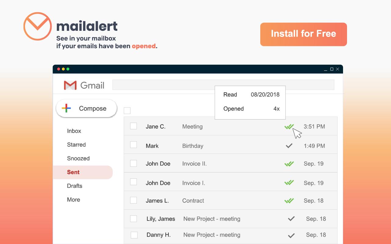 Mailalert - free doplněk pro sledování otevření a prokliků emailů