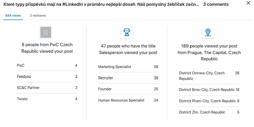 Žebříček typů příspěvků na LinkedIn