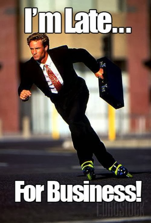 I'm late for business man in suit rollerblading dr heckle funny wtf memes