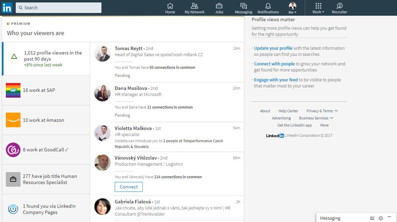 LinkedIn aktivita na profilu