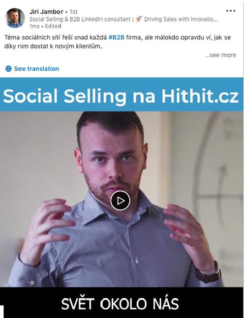ukázka příspěvku - video na LinkedIn